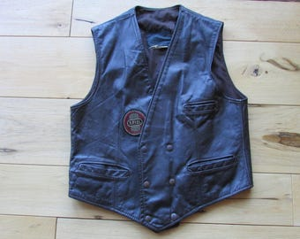 Vintage 1970's Brooks Brown Men's Medium Motorcycle Leather Vest