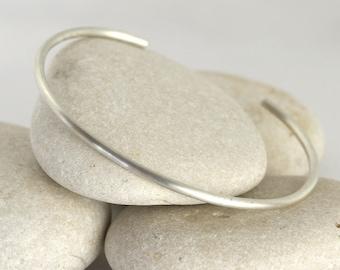 Matte Silver Cuff Bracelet, Silver Stacking Bangle, Brushed Layering Bracelets