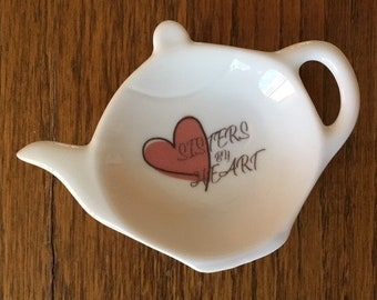 Teapot ceramic tea bag holder, bridesmaid gift, sister in law gift, jewelry ring trinket holder, spoon rest, monogram, heart dish