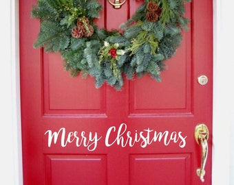 Merry Christmas Door Decal | BroMC |  Christmas Wall Decal  | Holiday Decal | Christmas Decal | Christmas Vinyl Decal | Christmas Decoration