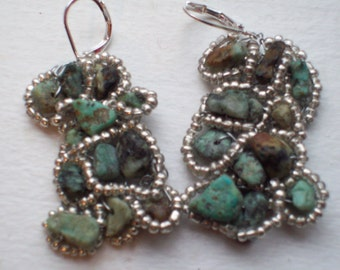 Earrings Turquoise Stone Chip and Silver Beaded  Handknitted French Clip Pierced Earrings by hipknitta