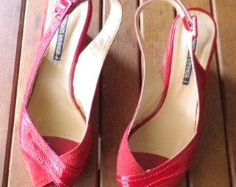 Wedge shoes, platform CHARLES KAMMER Paris, patent leather and Red Suede, size 40 or US 8, new