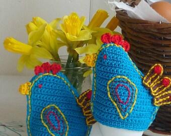 Chicken Egg Cozy - Crochet Egg Cozy - Crochet Hen - Hen Egg Warmers - Easter Table Decor - Gift for Couple - Hostess Gift - Set of 2