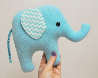Curious Light Blue Plush Elephant - Chevron Stiped Ears - READY TO SHIP