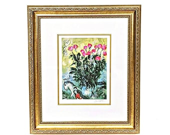 Marc Chagall Les Roses Original Fine Art Floral Giclee Print, Flower Print Impressionism, Roses wall art Colorful painting, Framed art
