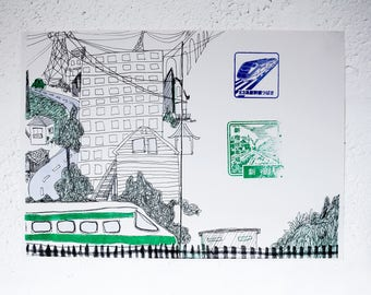 Shinkansen Drawing - Risograph Printed artwork of a Japanese bullet train, with eki stamps. Green, Blue & Black riso print A3 illustration.