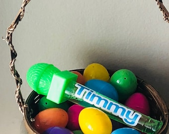 Personalized Bubbles with Easter Egg Tops, Custom Bubble Wand, Easter Basket Stuffers, Easter Bucket Fillers