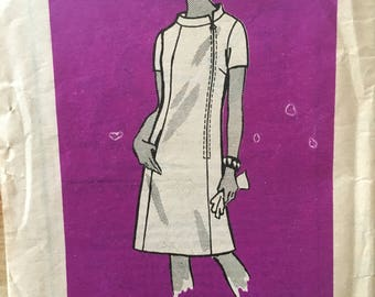 Vintage 1960's Anne Adams 4961 mail order dress pattern off center front zipper summer dress with multiple sleeve options Size 14 Bust 34""