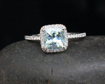 Stunning Aquamarine Ring Engagement Ring in 14k White Gold with Aquamarine Cushion 7mm and Diamonds