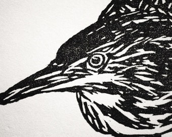 "Green Heron, hand carved woodblock print, 8.5""x11"", limited edition of 25"