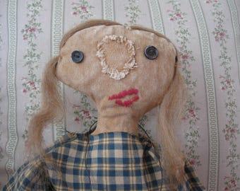 Primitive Folk Art Doll Betty Jean, OOAK, FAAP
