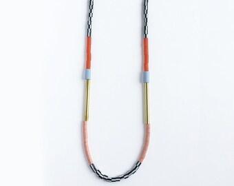Colourblock Necklace - Rust & Lilac