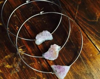 Raw Amethyst Choker/ Quartz Crystal Choker/ Natural Gem Stone/ Amethyst Necklace/ Metal Choker/ Boho Chic/ Choker Necklace/ Quartz Crystal