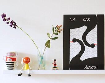 Ausverkauf! A3 Größe Poster schwarze Schwäne