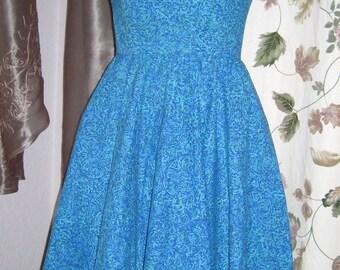 Dress Blue Print Full Skirt and Cutouts Rockabilly Swing - Petite 50s Vintage