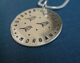 Little Chickadee Personalized Hand Stamped Sterling Silver Necklace