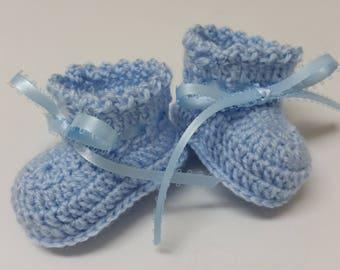 Baby Booties Baby Boy Booties Newborn Boy Blue Crochet Baby Boy Booties Christening Blue Newborn or Reborn Doll Baby Shower Gift