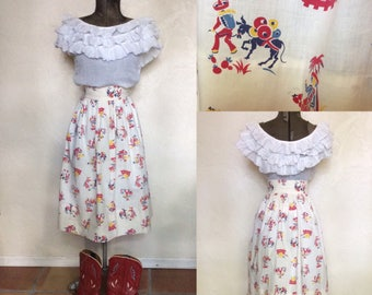Vintage 1950's Novelty Mexican Print Skirt M