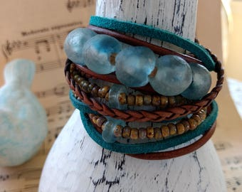 Boho Leather and Recycled Glass Wrap Bracelet, Multi Strands of Leather and beads in shades of Natural  browns and turquoise glass beads