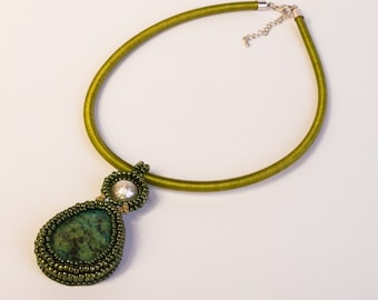 Necklace Chrysocolla Gemstone Teardrop Pendant, White Textured Pearl , Light Blue Seed Beads Embellishment on Silk Olive Green Necklace S60
