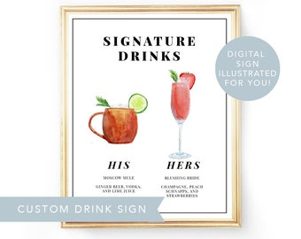 His Hers Drink, Digital Signature Drinks Sign Printable, Signature Drink Sign Wedding Illustrated Signature Cocktail Sign Wedding Drink Sign