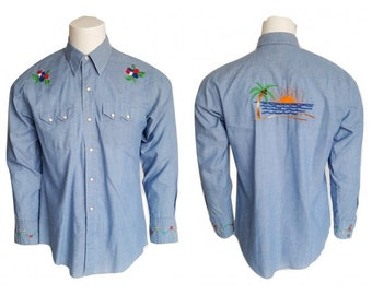 70s California Embroidered Mens Shirt • Vintage Blue Sawtooth Pearl Snap Western Blue Long Sleeve Shirt • Mens Size M