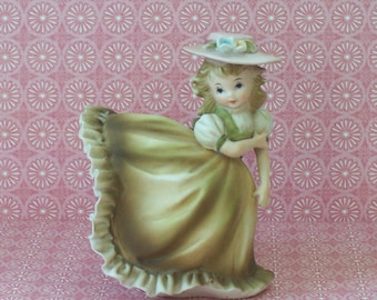 Lefton Bisque Girl Ruffled Dress Petticoat Bloomers Figurine KW3080