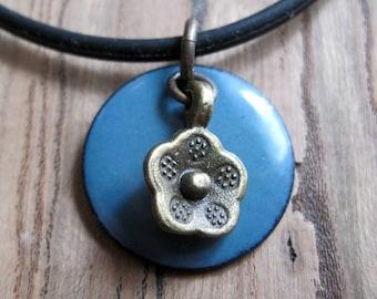 Flower jewelry Blue Copper Enamel Necklace Handmade pendant