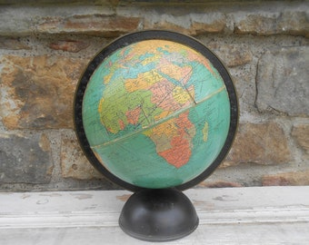 Vintage Globe 8 inch Standard Replogle World Globe with Metal Base Arm Geography Earth Travel Wedding Decor 1930s Antique Made in Chicago