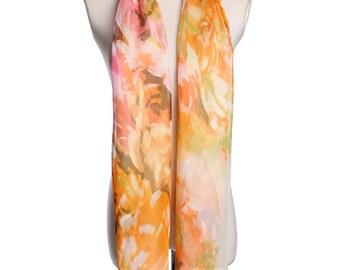 Womens Scarf, Brown Scarf, Floral Print Scarf, Chiffon Scarf, Voile Scarf, Cotton Scarf, Fashion Scarf