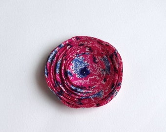 Fuchsia Pink and Blue Fabric Poppy Embellishment