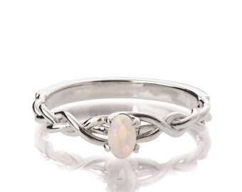 Opal Engagement Ring, 18K White Gold and Opal engagement ring, Unique Engagement ring, Opal ring, Celtic Opal Ring, Oval Opal Ring, 2