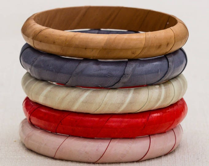 Leather Wrapped Bracelet Pick Your Color Red Tan Gray Blush Pink Ivory Vintage Bangle Costume Jewelry Cuff 7AR