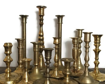 Vintage Brass Candlestick Candle Holder Collection 15 Pieces // E2