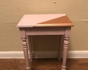 Small Refinished Vintage Wood Accent Table