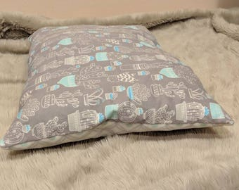 Cat Bed or Small Dog Bed   pillow, fleece, flannel, cute, soft, washable, succulents, pattern