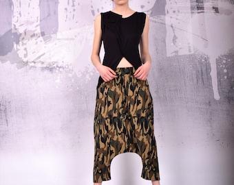 Camouflage pants, Military drop crotch, Camouflage oriental pants, loose oriental pants, harem pants, long pants, loose pants - UM-113-QC