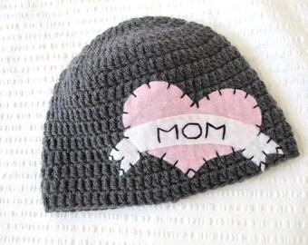 Valentines Day Kids Hat, I Heart Mom Hat, Crochet Baby Hat, Tattoo Crocheted Hat, Baby Hat, Valentines Day Beanie, I love mom hat, tattoo