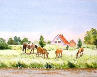Summer Landscape: Altesland, Germany, 35 cm x 50 cm