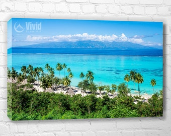 Tahiti island canvas art, crystal blue, peaceful wall art, south pacific ocean, turquoise water, ocean photography, art for home decor