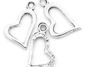10 Pieces Antique Silver Hollow Heart Charm Pendants