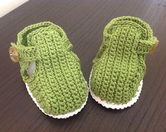 Baby boy shoe green/white