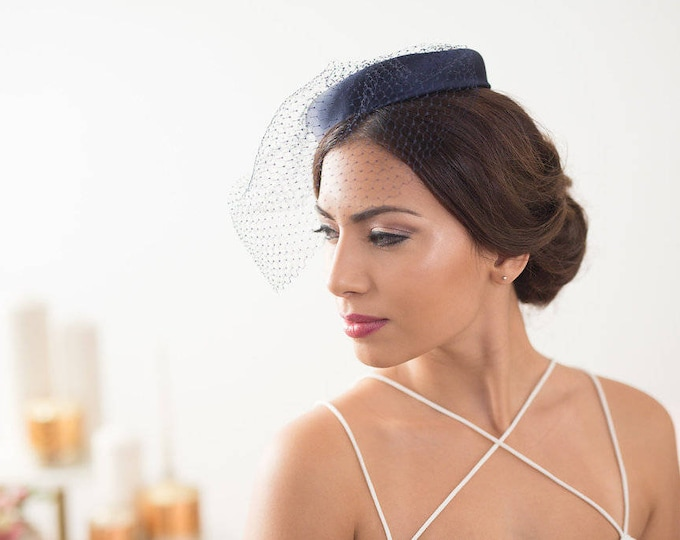 Navy Blue pillbox hat, factinator hat, Navy blue veil hat, Blue pillbox hat, bridal fascinator, birdcage veil hat, birdcage hat, mini hat