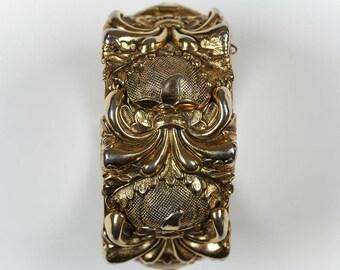 Whiting & Davis Vintage Gold Repoussé Hinged Cuff Bracelet