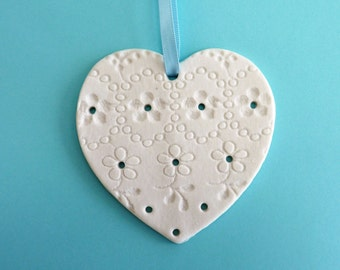 Ceramic heart ~ hanging heart, essential oil diffuser, lacy heart, clay hearts, gift for her, birthday present, small gifts, present for Mom