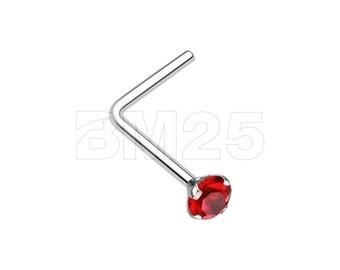 Prong Set Gem Top Steel L-Shaped Nose Ring - Red