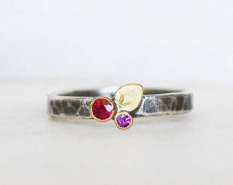 Ready to Ship in Size 7.25 - Ruby and Garnet Bloom Ring - 18k Gold and Sterling Silver Petal Stacking Ring