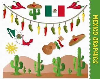 Mexico Clip Art Graphics Mexican Clipart Scrapbook Cactus Chilli Peppers Flag Map Sombrero Digital Download PNG Vector Commercial Use