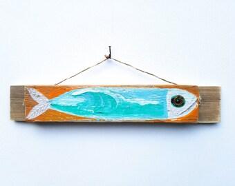Personalize this Original Art item-Fish Art Handmade on Reclaimed Wood Beach House Decor Fishing Kids Room Beach Art Fish Wall Art Mangoseed