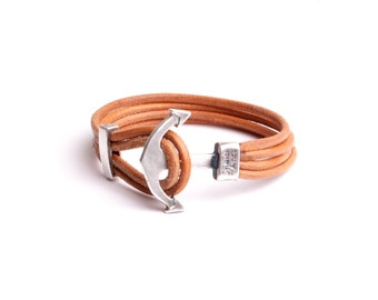 Navy anchor strap, leather cuff men women jewelry hand made cord workshop France by mode.